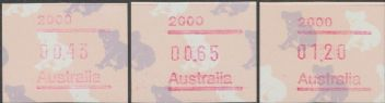 Australian Framas: Koala Button Set 43c, 65c, $1.20: Post Code 2000 Sydney